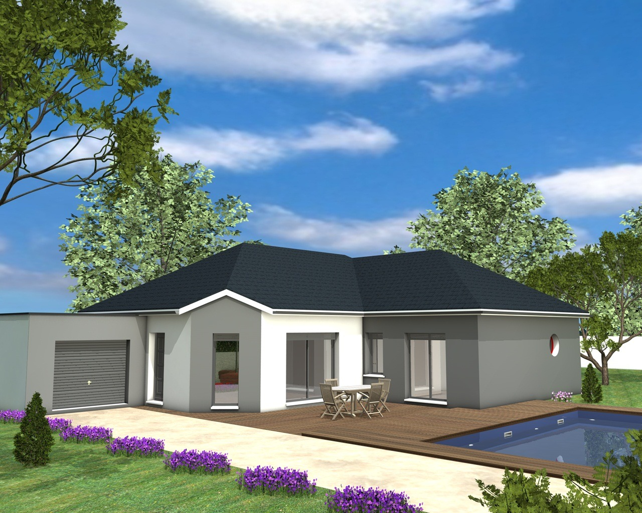 Modles Et Plans De Maisons Modle De Plain Pied Inspiration With Modele De  Maison En U