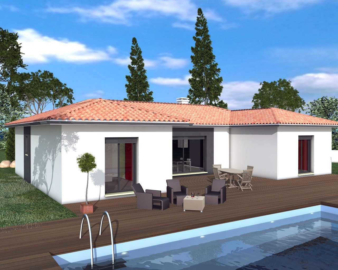 inspiration en u avec garage toit plat - Maison Moderne Avectoiture