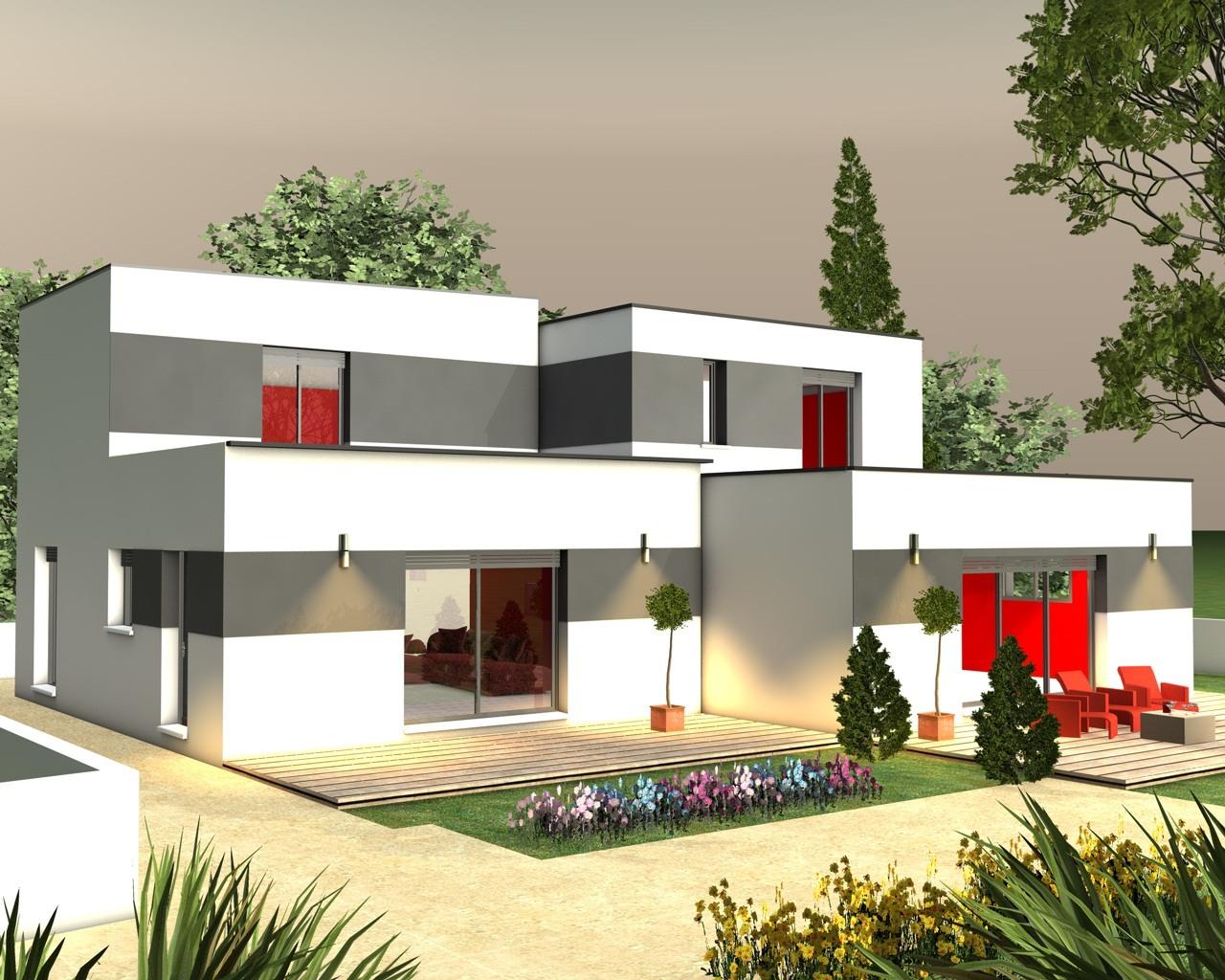plan maison terrasse etage