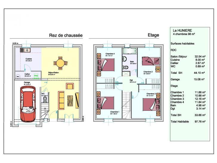 maison neuve auneau 28700 partir de 168 000 les On plans de maison de 4 chambres a kerala seul etage