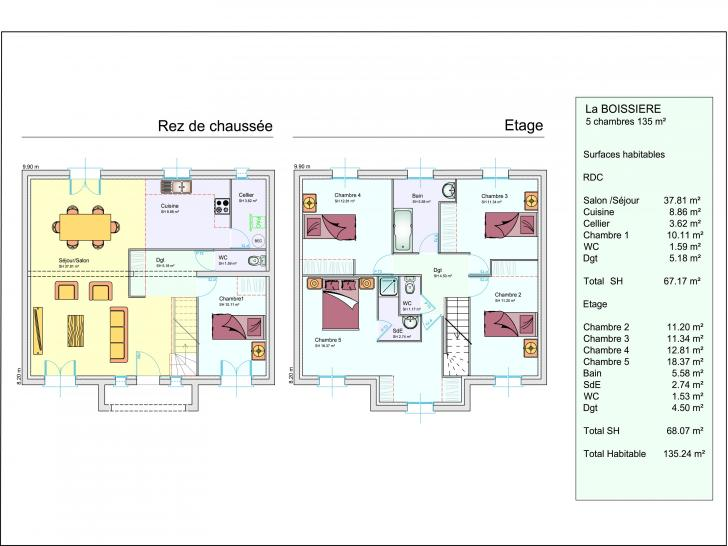 Plan maison 3 etages for Plan maison 4 chambres etage
