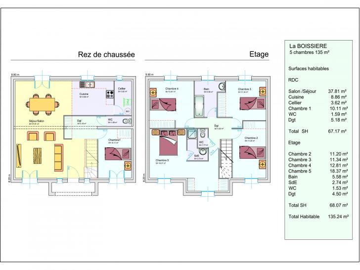 Mod le de maison la boissiere 1 tage 3 chambres les for Plan maison 5 chambres