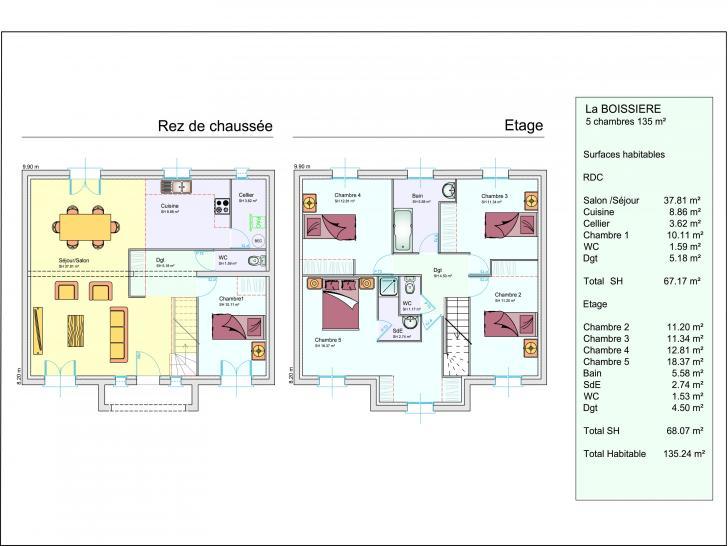 Plan de maison LA BOISSIERE : Vignette 1