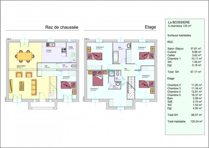 Plan Maison Etage 2 Chambres. 36 Deco Maison Peinture Dijon. Plan