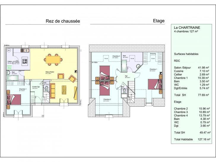 mod le de maison la chartraine 1 tage 4 chambres les r sidences de la vall e de l 39 eure. Black Bedroom Furniture Sets. Home Design Ideas