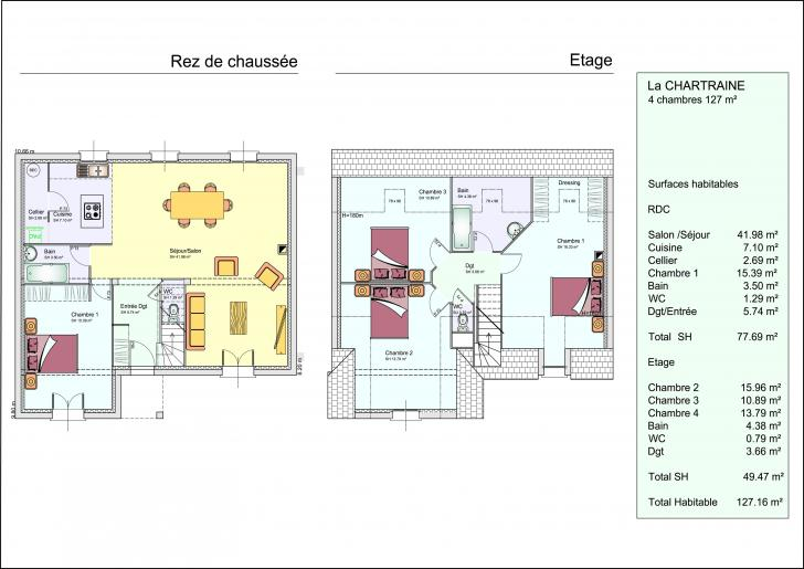 Finest plan maison chambres etage with plan maison 4 chambre for Maison 4 chambres etage