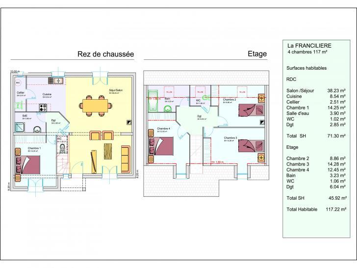 mod le de maison la franciliere 1 tage 4 chambres les. Black Bedroom Furniture Sets. Home Design Ideas