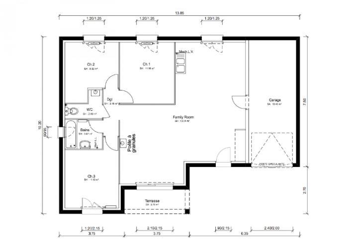 plan maison 84m2