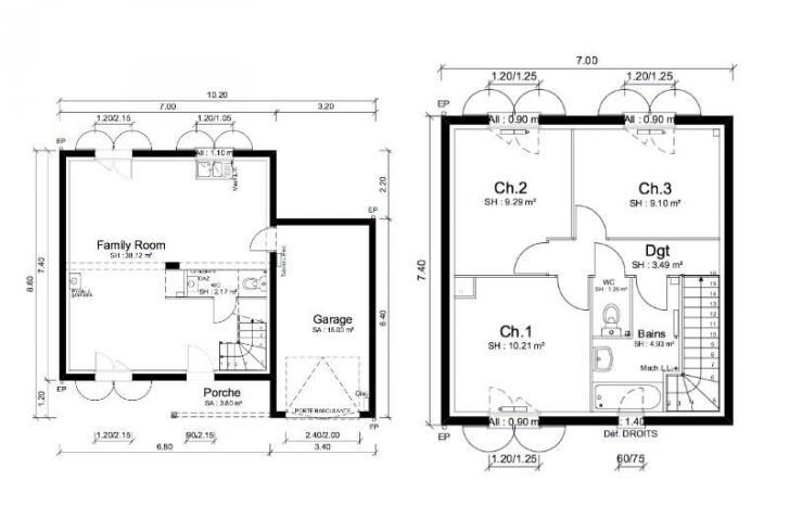 Maison amricaine plan perfect plan maison d sjour with for Plan maison americaine