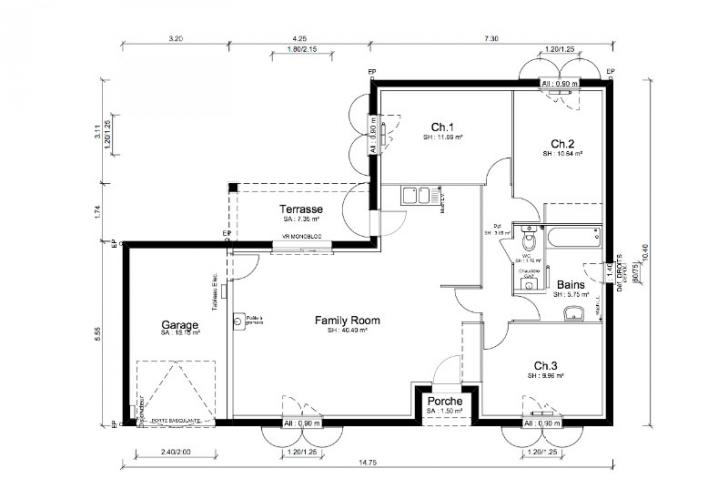 Plan de maison sans toit modle tage enovation maison pau for Plans de maison