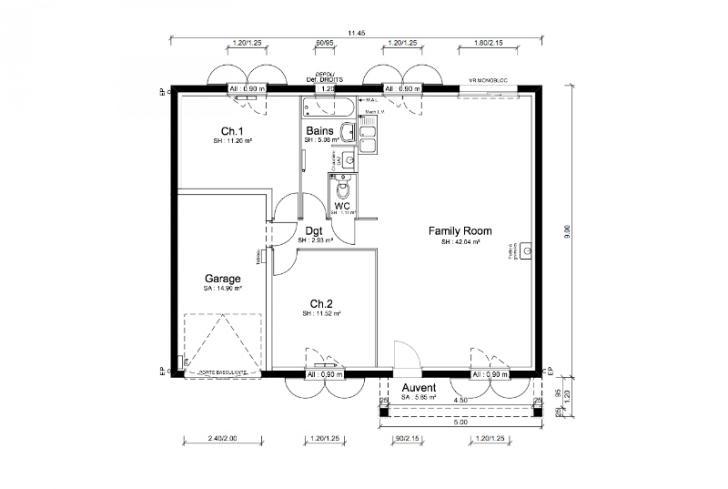 Plan de maison - LAMBADA - VERSION SUD