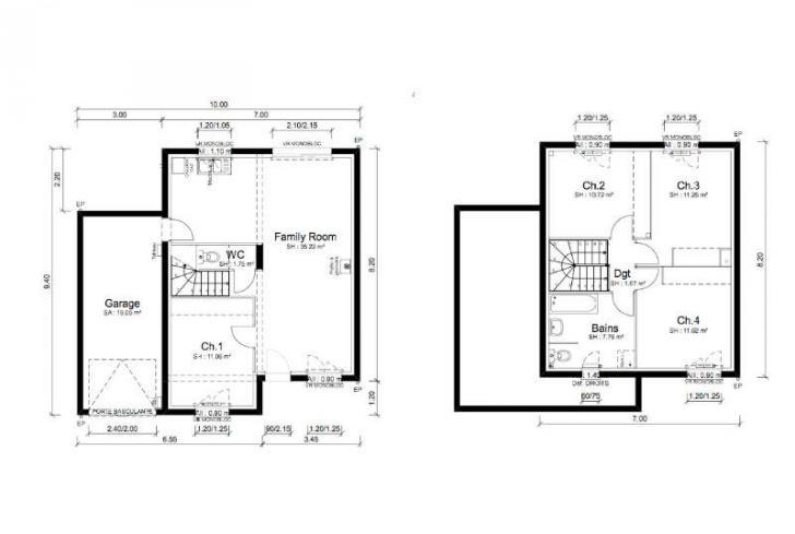 Plan de maison - TANGO - VERSION SUD