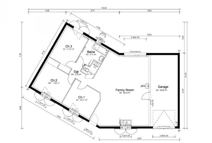 Plan de maison - SAMBA - VERSION SUD