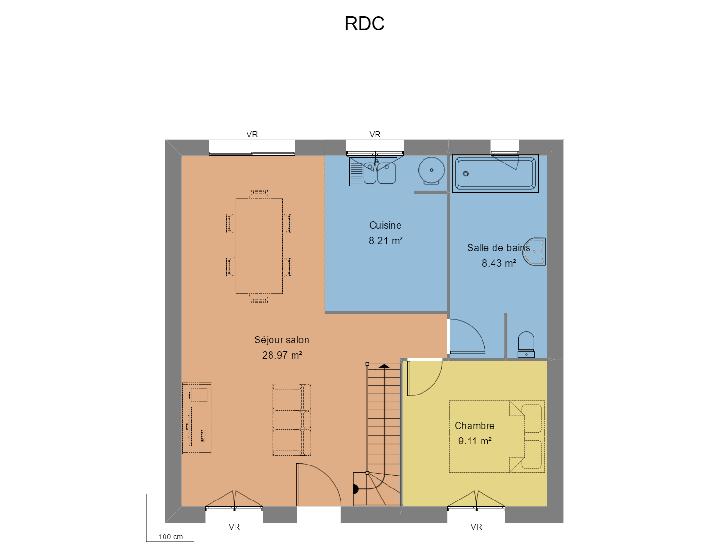 Mod le de maison delicate avec combles am nag s 1 tage for Modele maison 6 chambres
