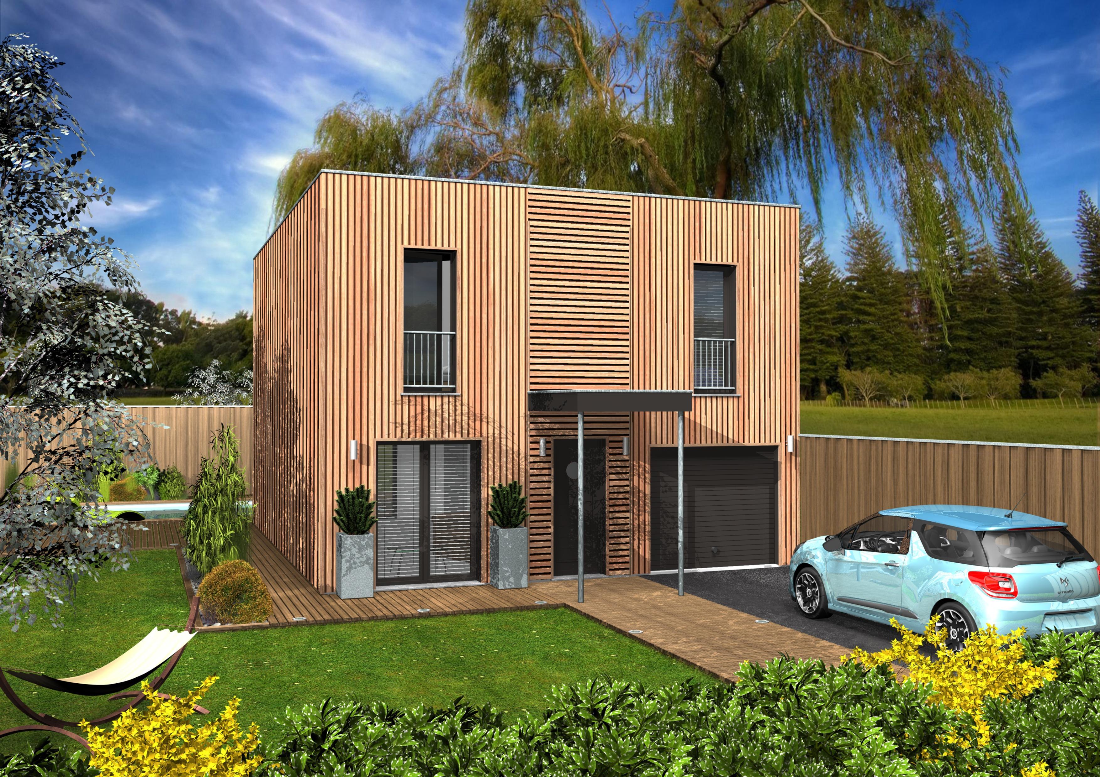Clairlande bois constructeur maison gironde 33 for Maison toit plat bois