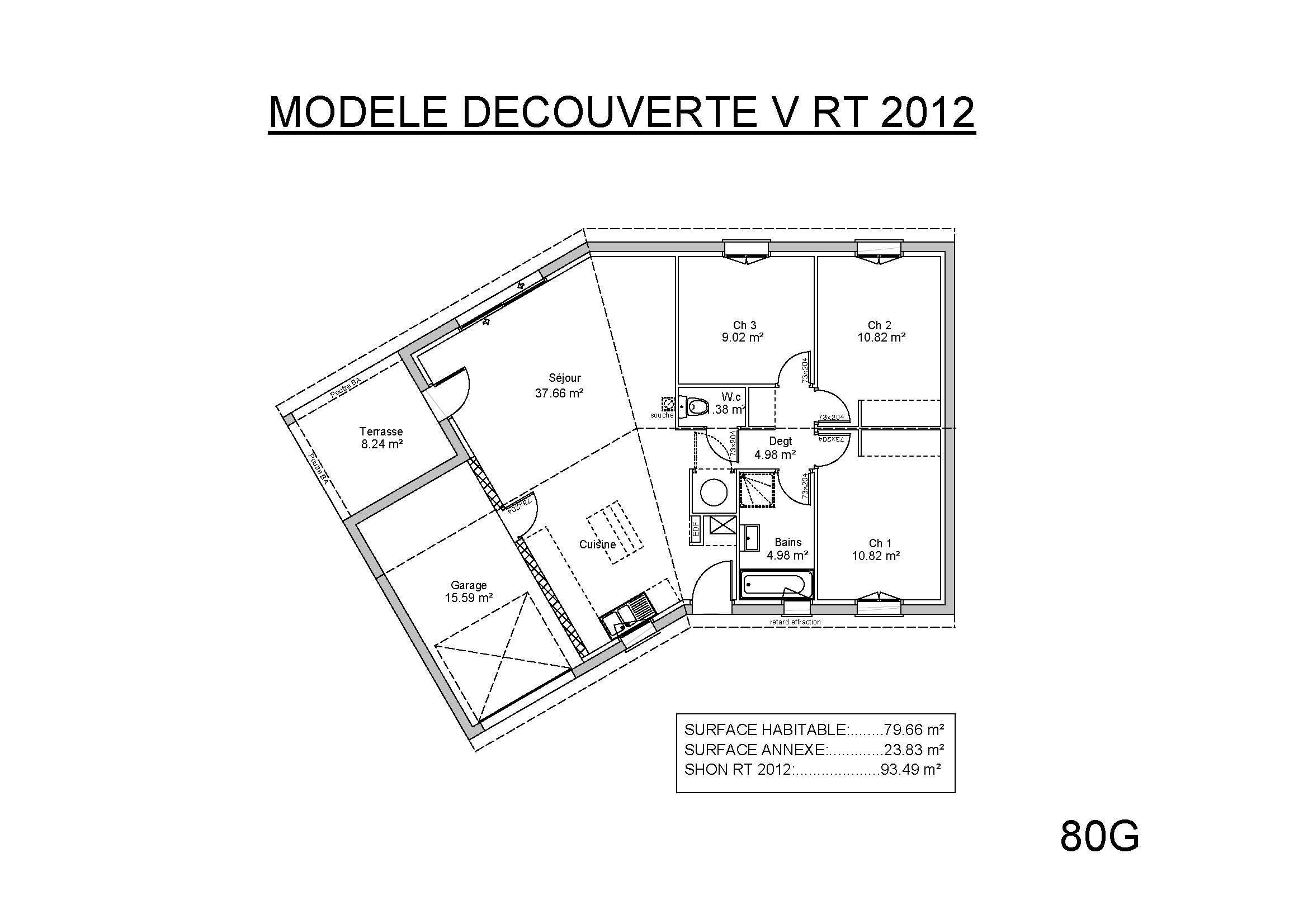 mod les et plans de maisons mod le de plain pied d couverte en v constructions demeures c te. Black Bedroom Furniture Sets. Home Design Ideas