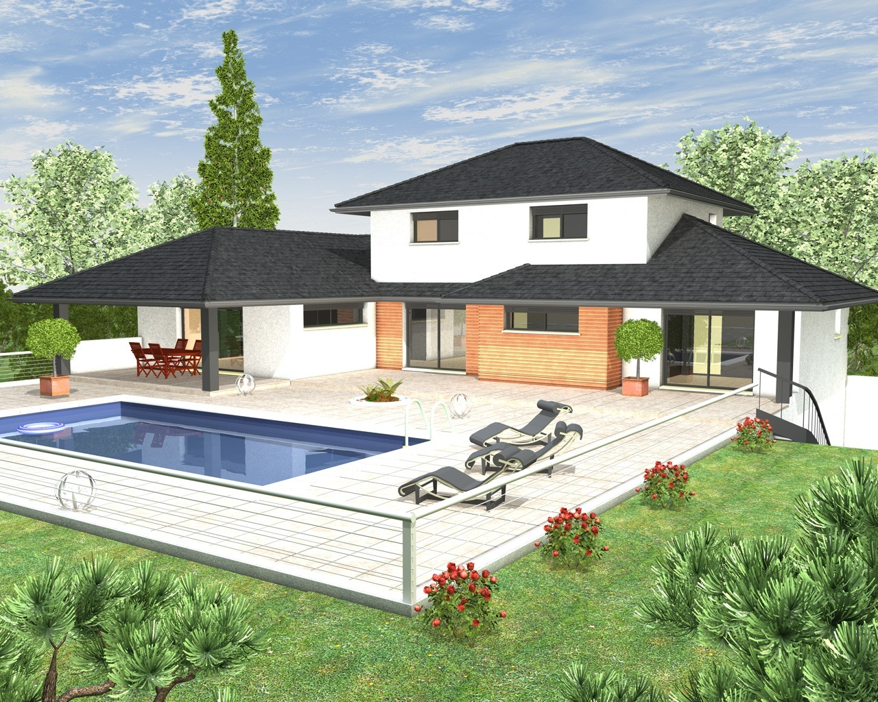 Mod les et plans de maisons mod le tage inspiration for Modele de maison contemporaine de plain pied