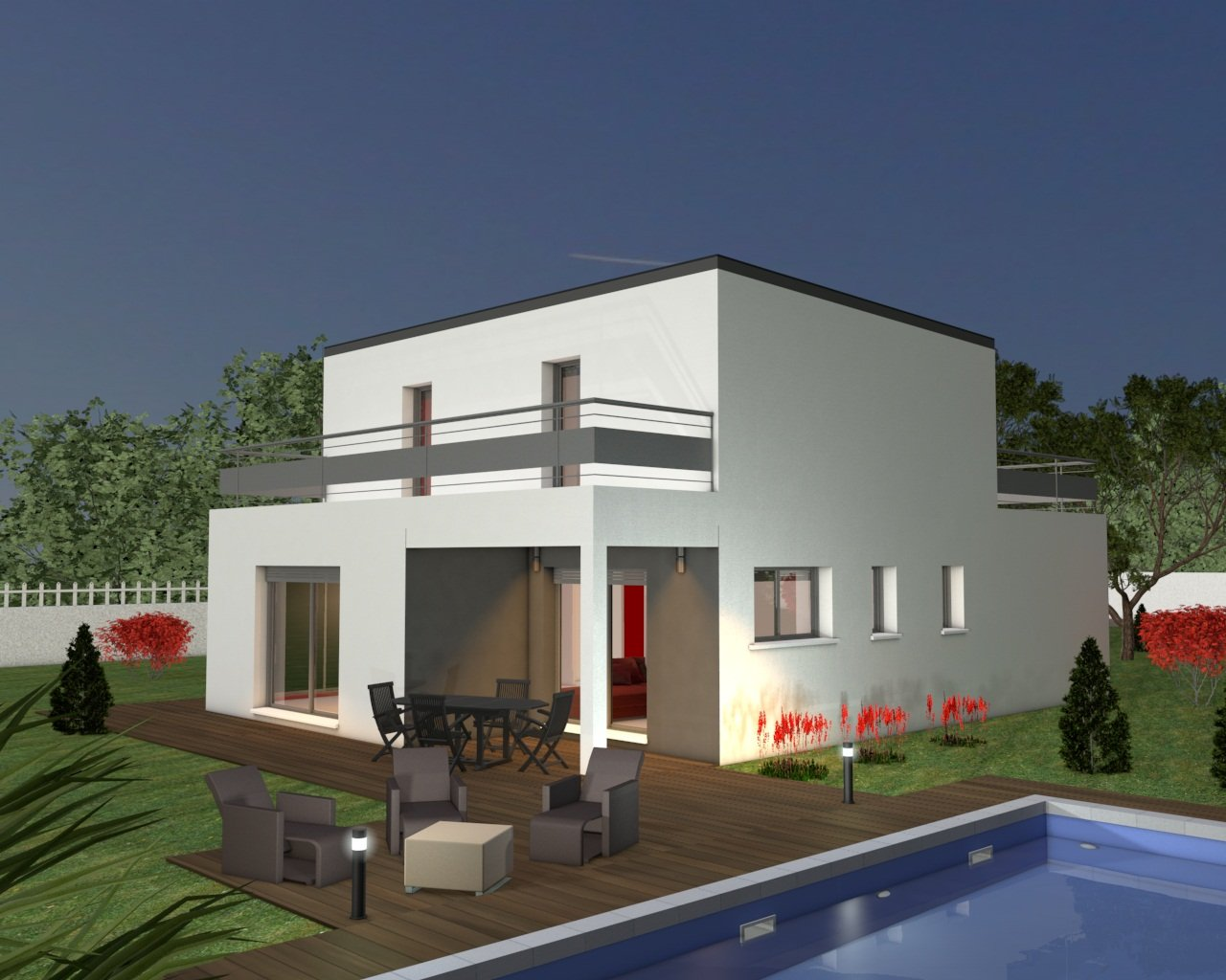 Immobilier plans maison toit terrasse for Appartement maison