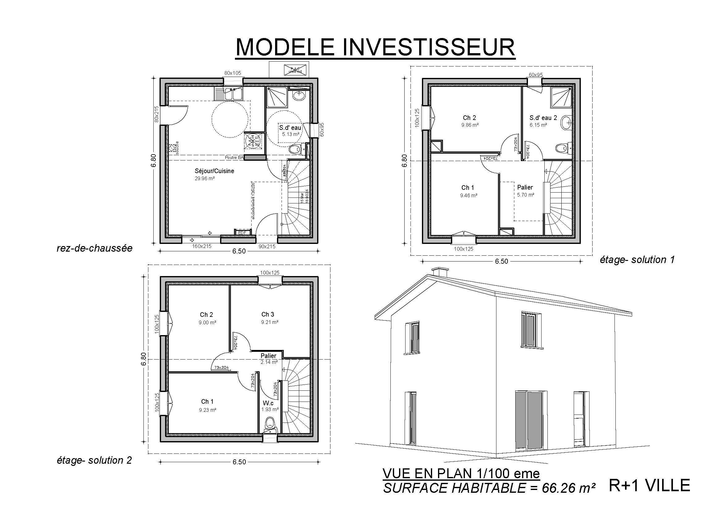 Modele de plan de maison maison moderne for Plan maison modele