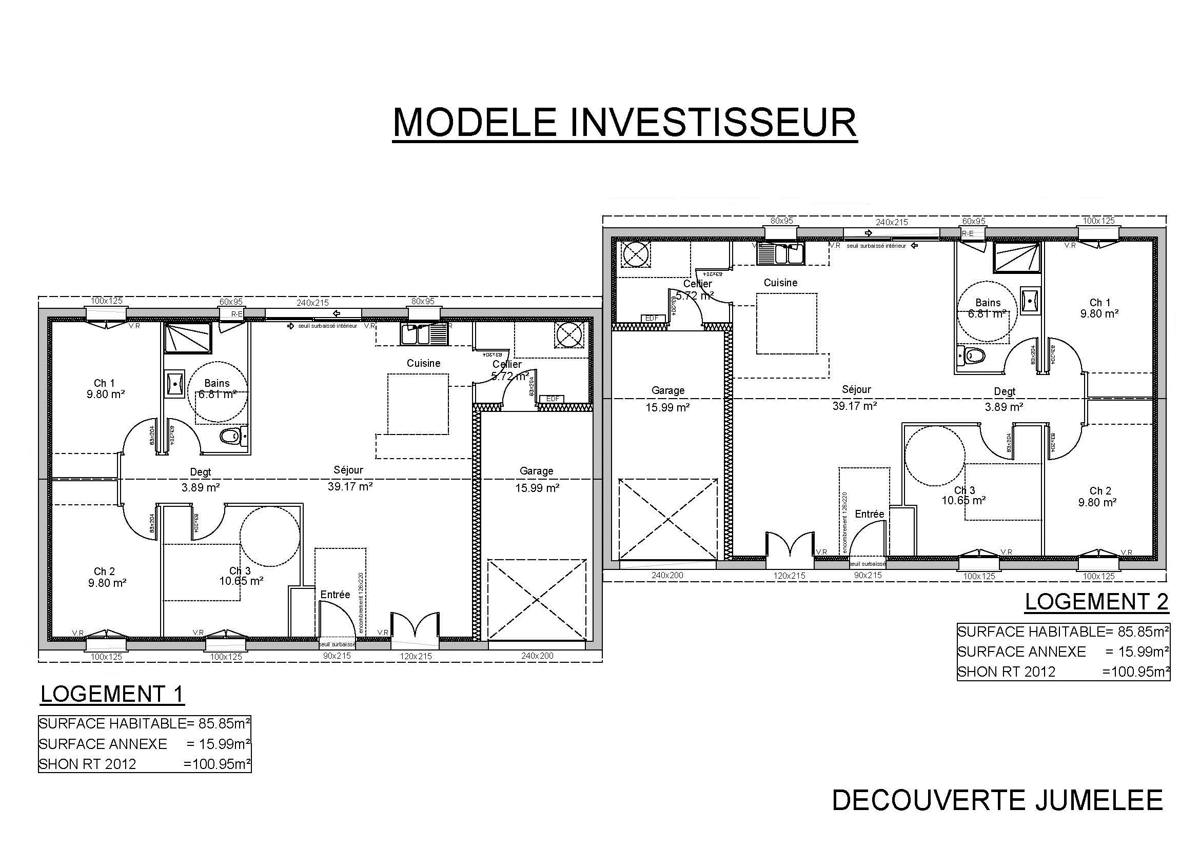 Exemple plan maison jumel e for Modele et plan de maison