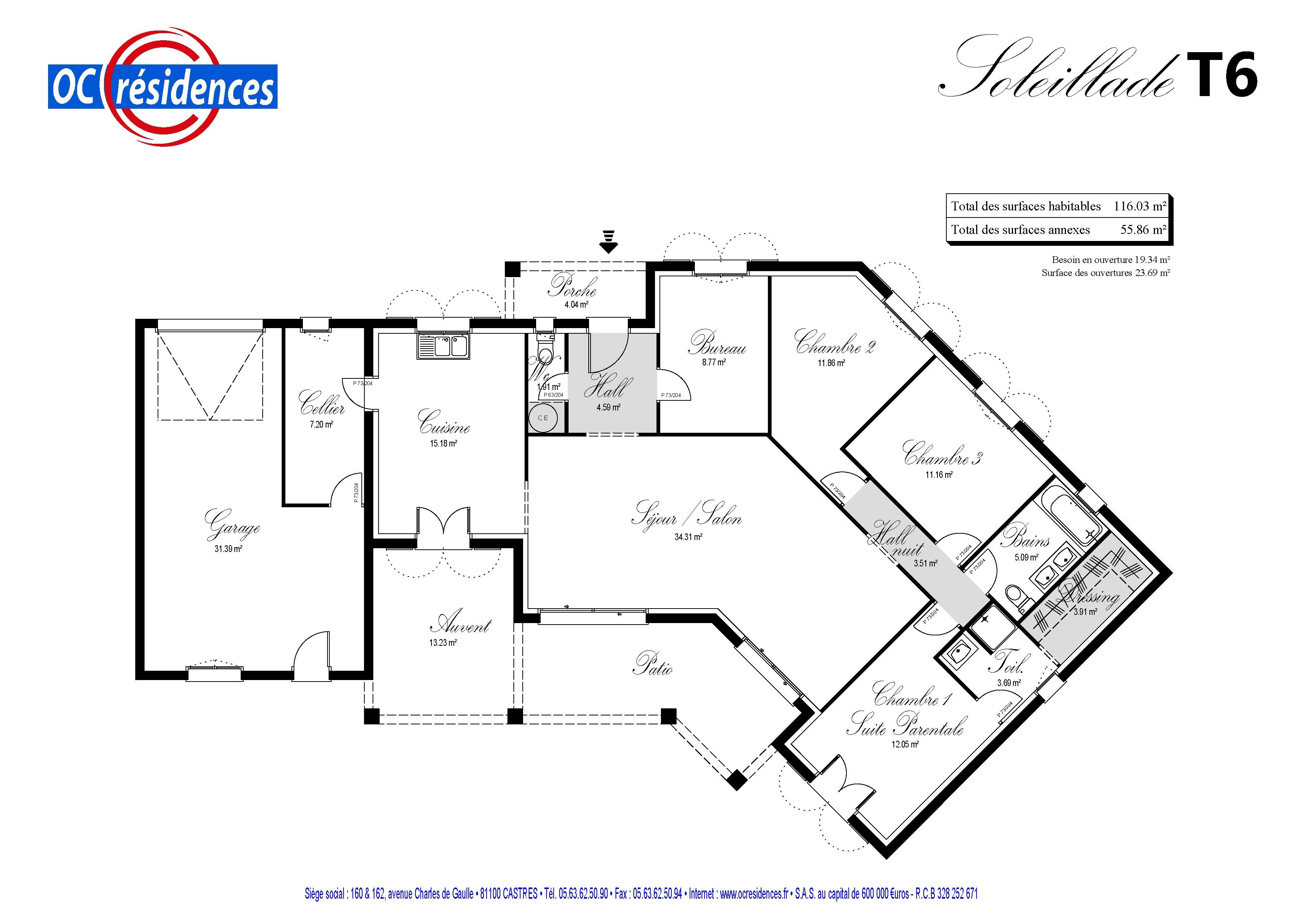 plan maison oc residence