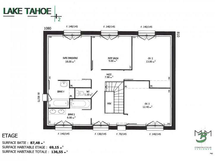 PLAN LAKE TAHOE 2 ETAGE