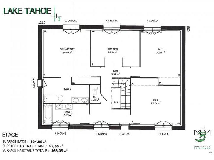 PLAN LAKE TAHOE 3 ETAGE