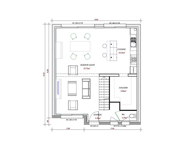 Terrain et maison à construire Gondecourt 92m²