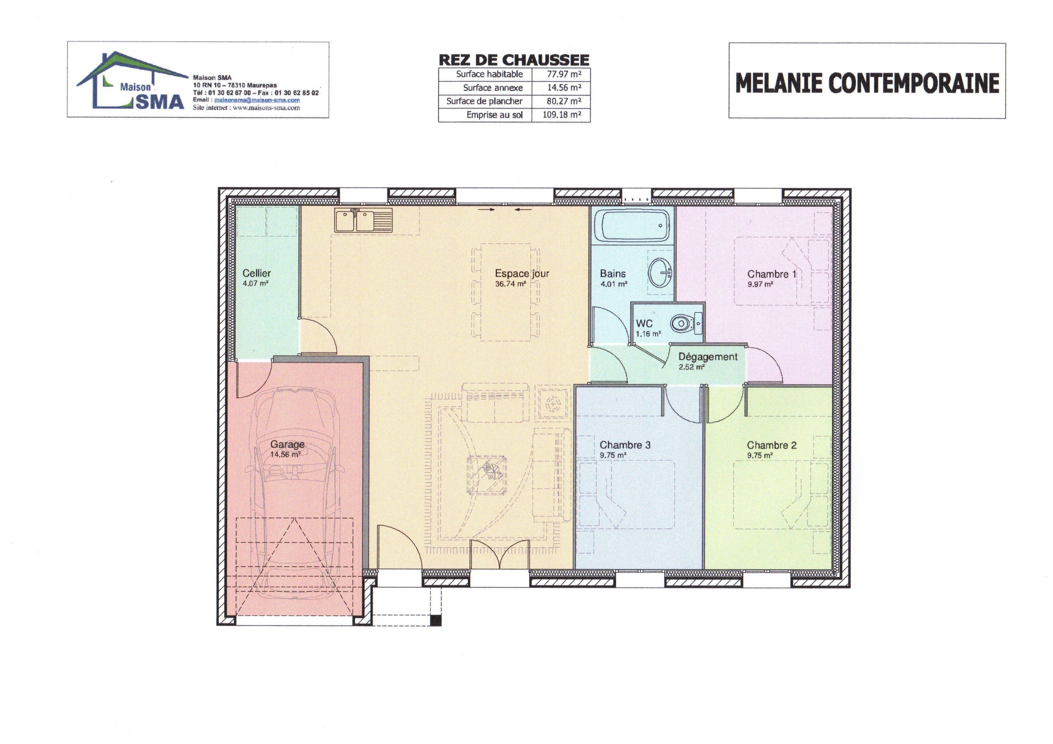plan de maison 75 m