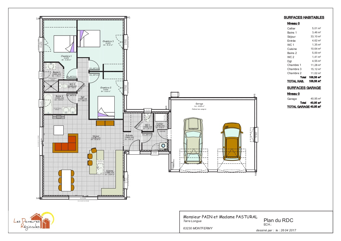 plan contemporain 2 chambre + suite parentale clermont ferrand