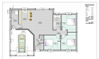 plan maison avec décroché 3 chambres et garage clermont ferrand