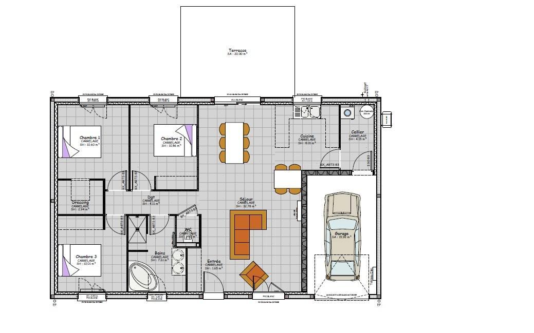 plan maison droite contemporaine vichy