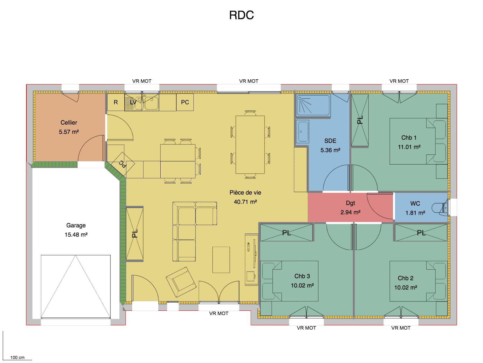 plan maison droite 3 chambres Moulins
