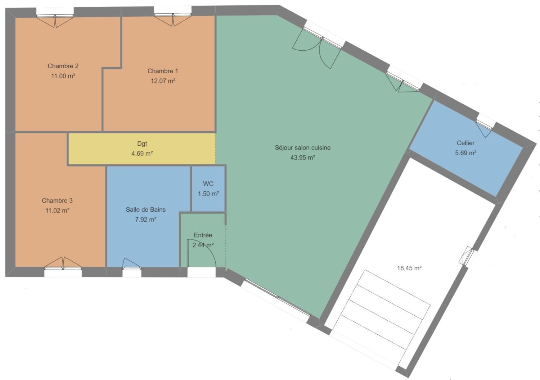 plan maison en V 3 chambres paray le monial