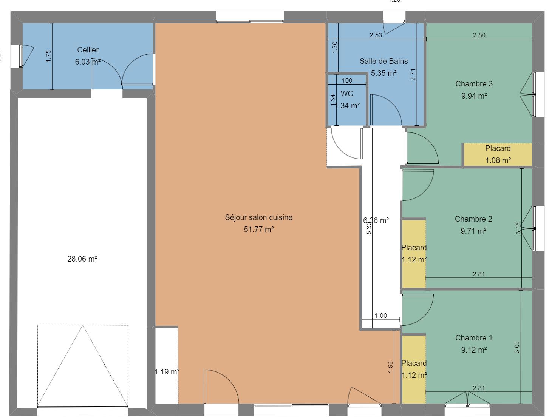 plan maison droite Paray le Monial