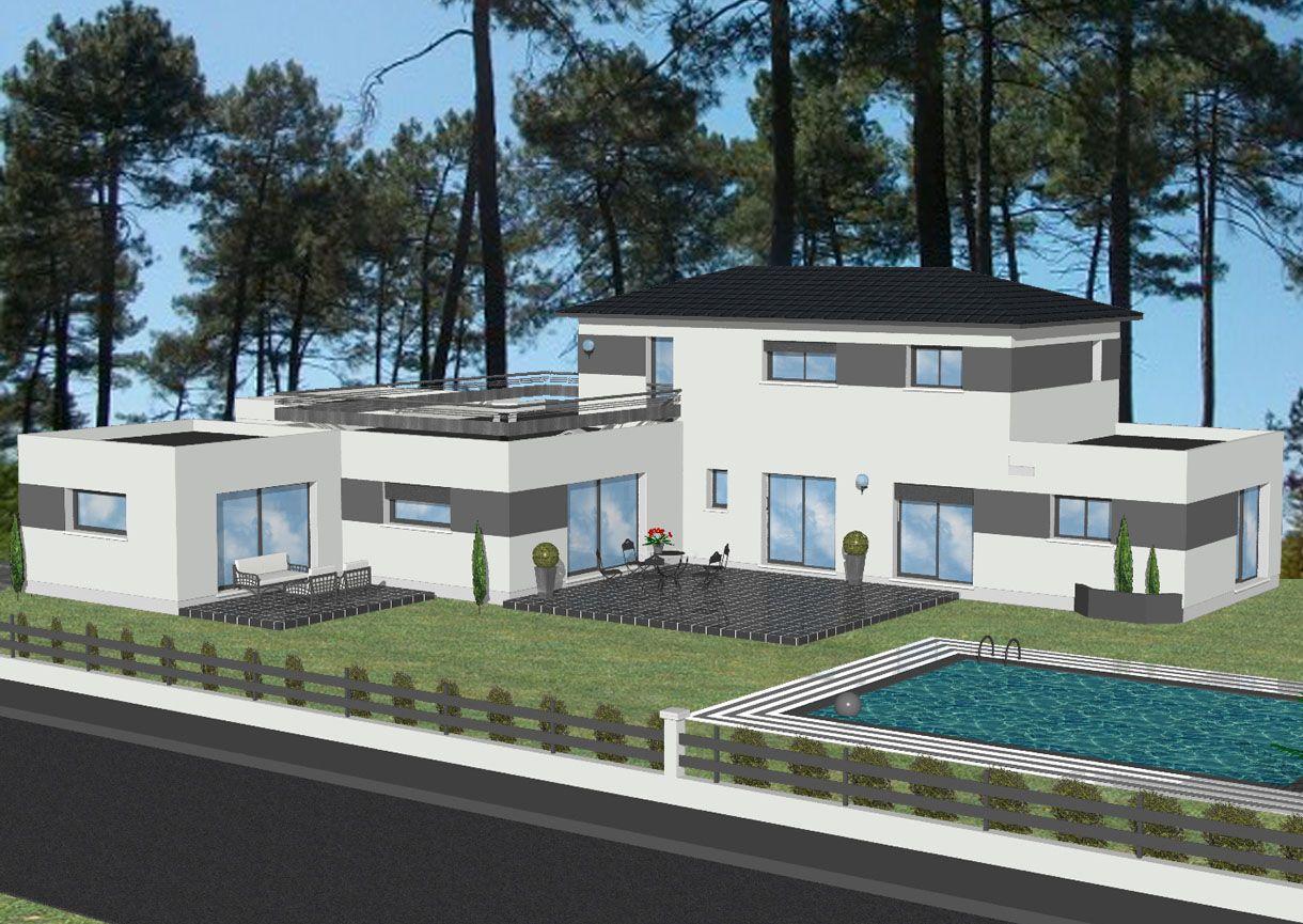Modele de maison moderne toit plat for Modele maison geoxia