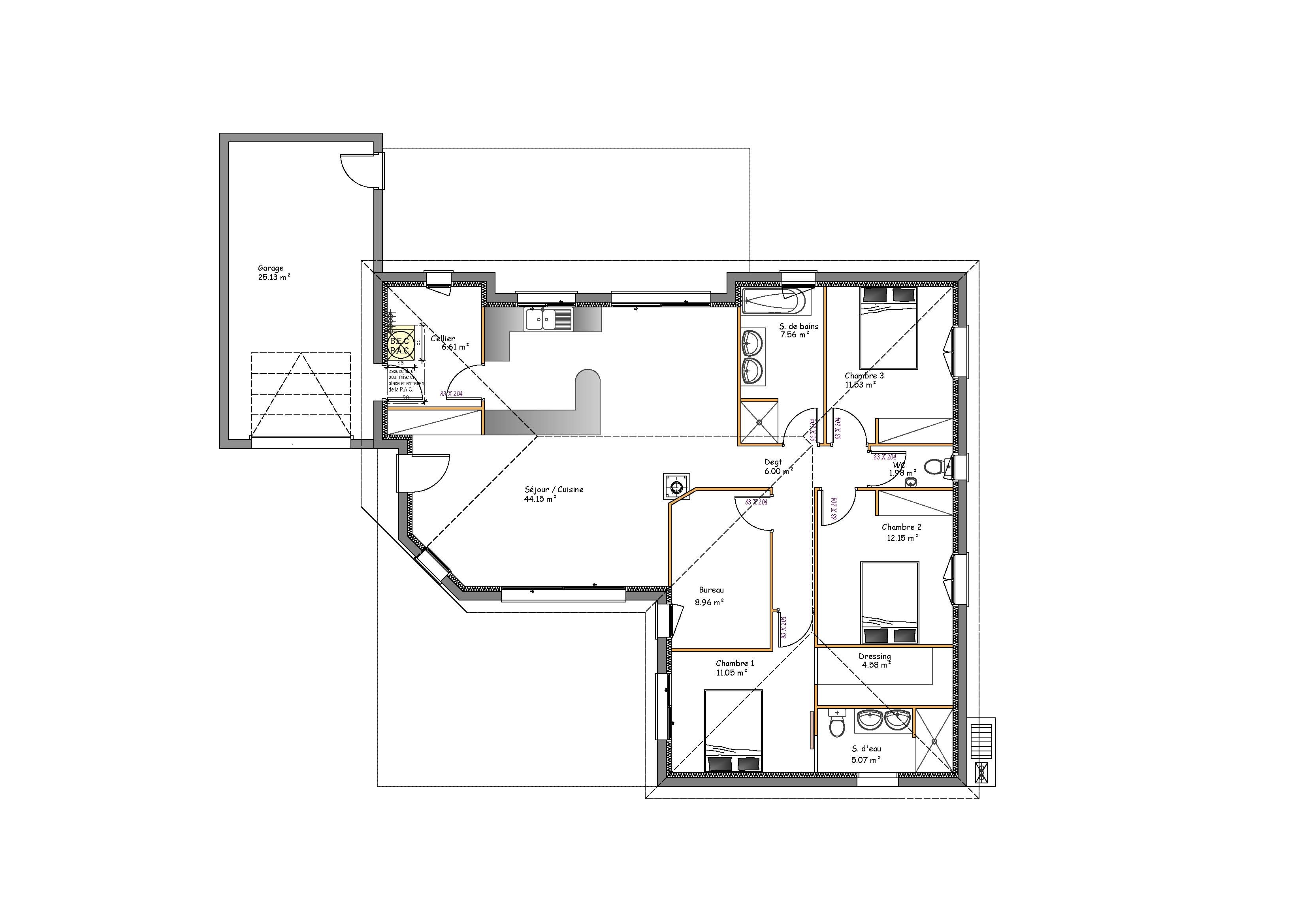 Plan maison contemporaine plain pied toit plat for Plan maison monopente