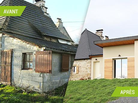 Rénovation d'une maison et création d'une extension à Cros-de-Montvert (15150)