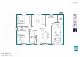 Plan MAISON DE PLAIN PIED - DE 66 A 76 M2 - HAUTE-VIENNE ACACIA 4 AG