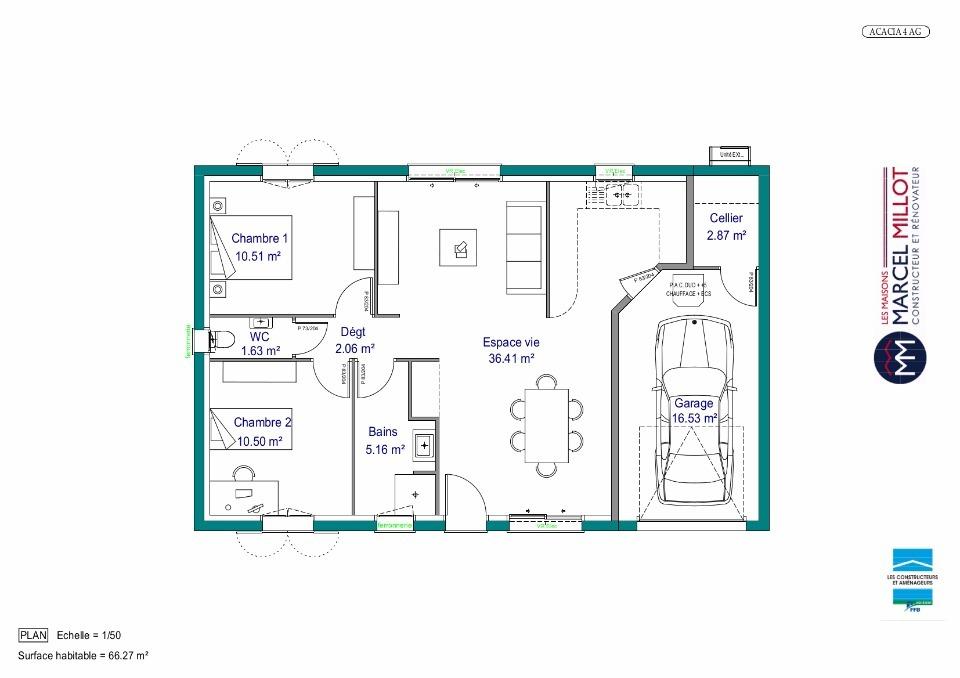 Plan MAISON DE PLAIN PIED - 66 M2 - CORRÈZE - ACACIA 4 AG