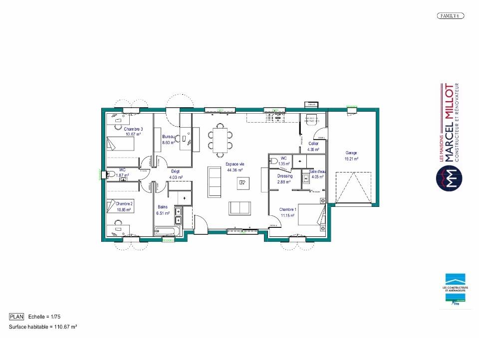 Plan MAISON DE PLAIN PIED - 110 M2 - HAUTE-VIENNE - FAMILY 6