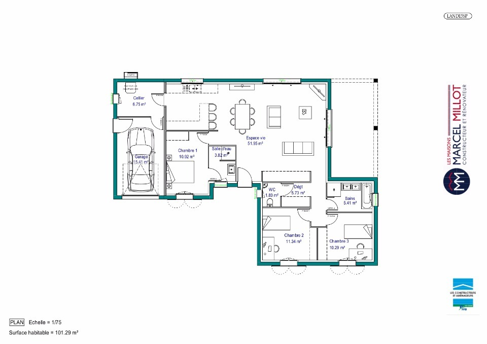 Plan MAISON DE PLAIN PIED - 102 M2 - CREUSE - LANDA 5SP