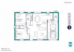 Plan MAISON DE PLAIN PIED - 66 M 2 - HAUTE-VIENNE - ACACIA 4 AG VARIANTE