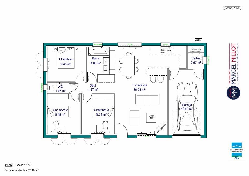 plan de maison 98m2