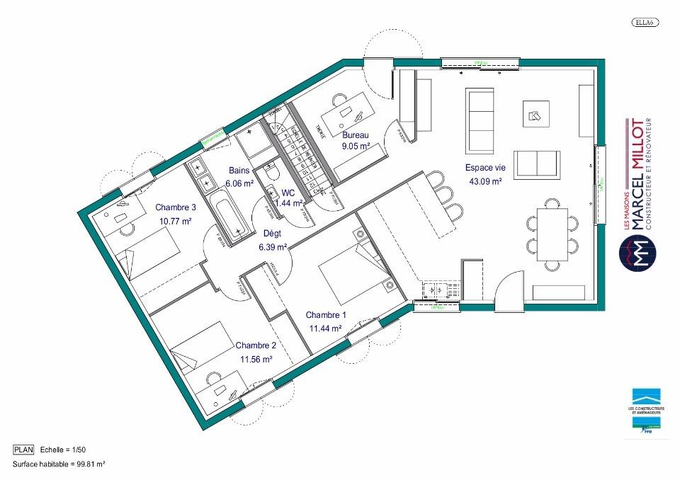 plan de maison en v sur sous sol