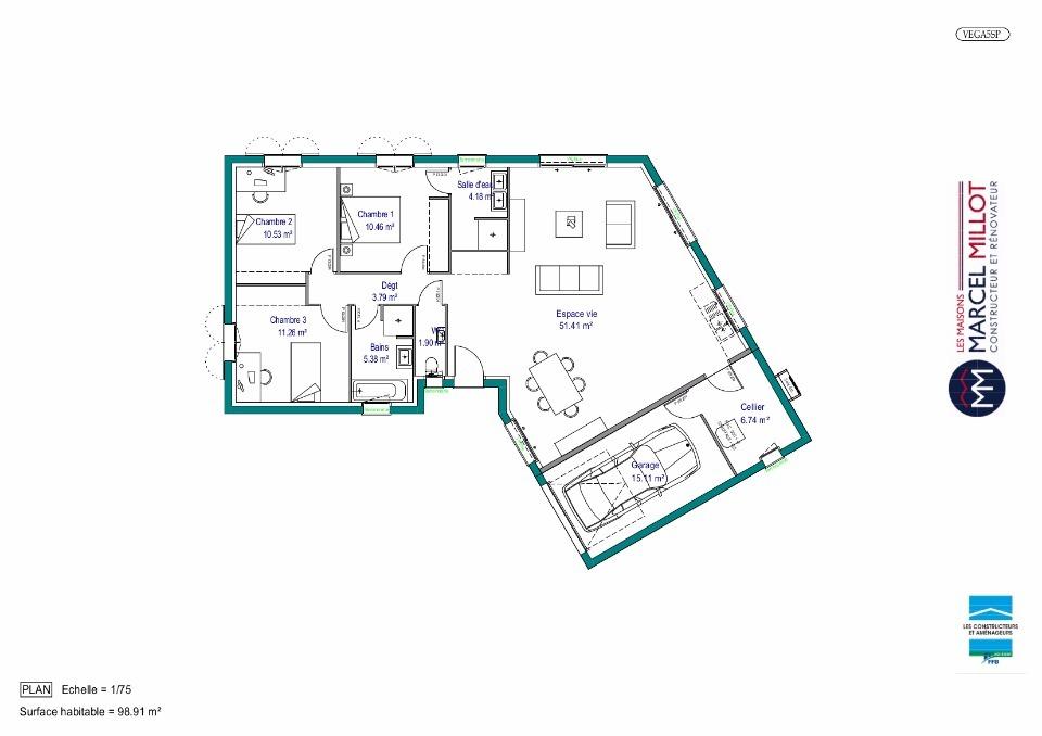 Plan De Maison Plain Pied 100M2 | Ventana Blog