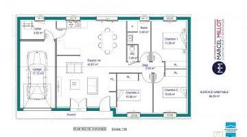 Vue ALPHA - 22° - dpts 87/46/24 - maison de plain pied - forme rectangle