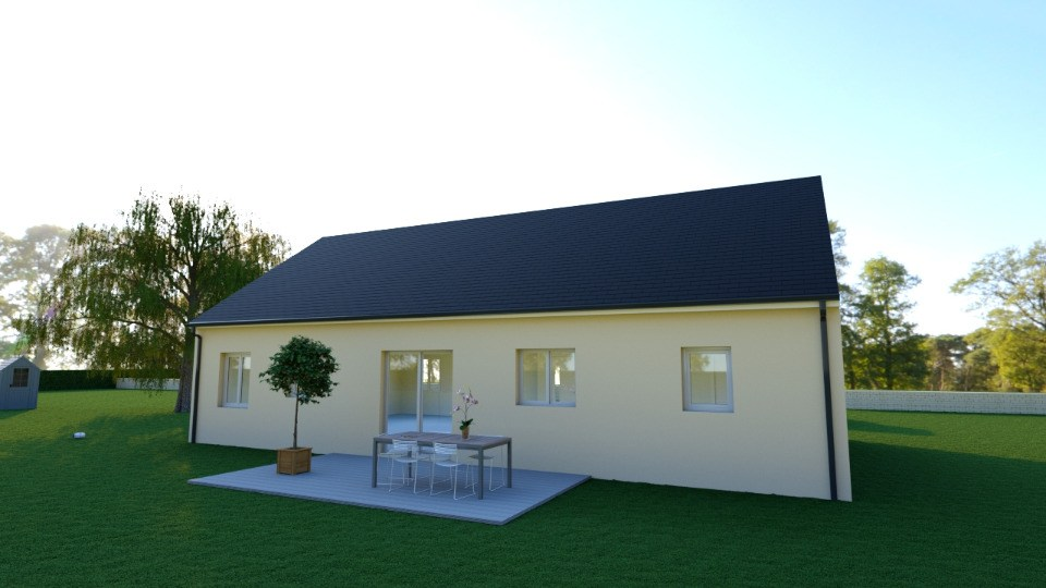 Vue ALPHA - 35 ° - dpts 19/23 - maison de plain pied - forme rectangle