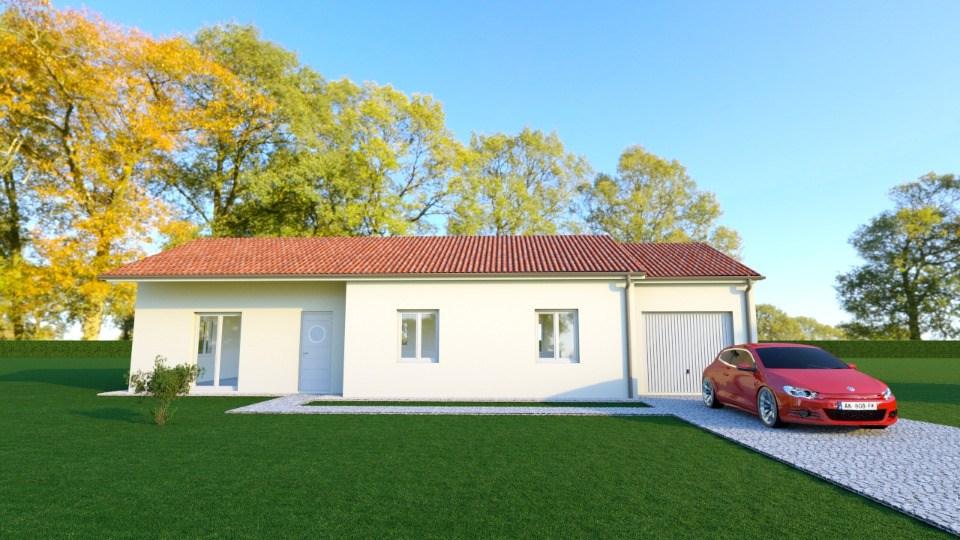 Vue BRIANCE - 22° - dpts 87/46/24 - maison de plain pied - forme rectangle