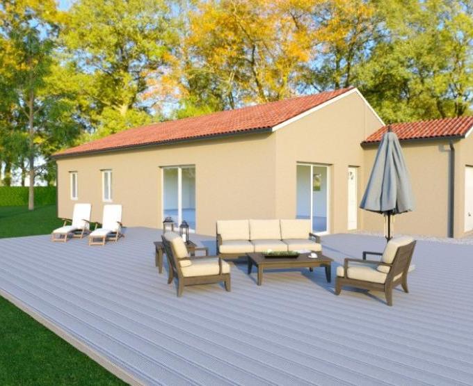 Vue EPSYLON - 22° - dpts 87/46/24 - maison de plain pied - forme rectangle